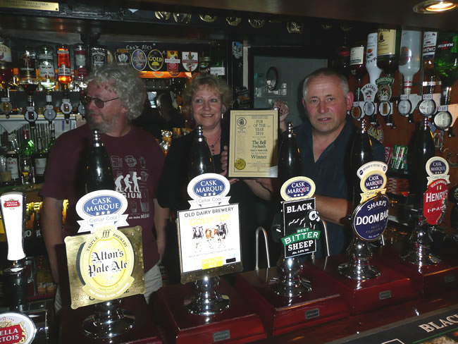 Mark and Vanda with CAMRA Branch Chairman Paul Meredith